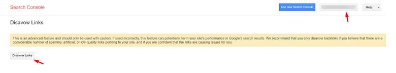 disavow link search console