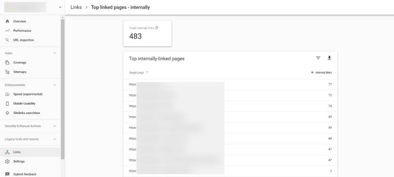internal link search console