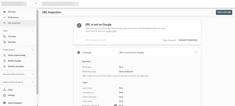 url inspection pada search console